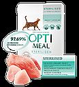 Optimeal з індичкою та курячим філе 3+1 шт по 85 г вологий корм для стерилізованих котів в соусі, фото 2