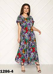 Женское платье летнее длинное размеры 54-58