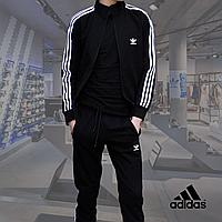 Мужской спортивный костюм Adidas(адидас) черного цвета + подарок M