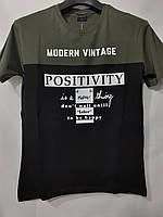 """Мужская летняя футболка """"Positivity"""" размеры норма 44-52, цвет хаки"""