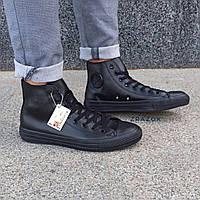 Мужские высокие кеды конверсы all star converse эко - кожаные черные деми демисезон