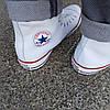Мужские высокие кеды конверсы all star converse эко - кожаные белые деми демисезон, фото 3
