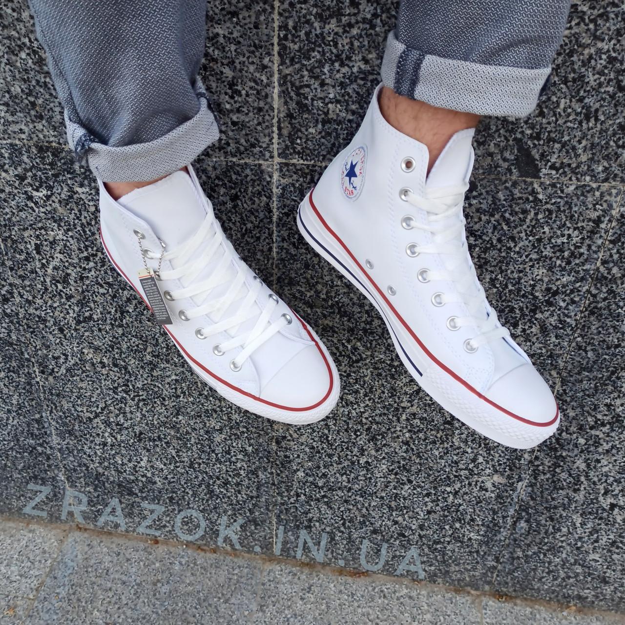 Мужские высокие кеды конверсы all star converse эко - кожаные белые деми демисезон