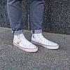 Мужские высокие кеды конверсы all star converse эко - кожаные белые деми демисезон, фото 5