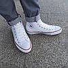 Мужские высокие кеды конверсы all star converse эко - кожаные белые деми демисезон, фото 6