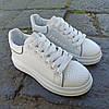 Кросівки ALEXANDER MCQUEEN з рефлективом |копія| білі на товстій підошві високі еко шкіряні перфорація, фото 4