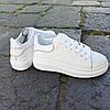 Кросівки ALEXANDER MCQUEEN з рефлективом |копія| білі на товстій підошві високі еко шкіряні перфорація, фото 6
