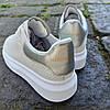 Кросівки ALEXANDER MCQUEEN |копія| білі розміри 36-41 на товстій підошві високі еко шкіряні перфорація, фото 4
