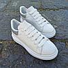 Кросівки ALEXANDER MCQUEEN |копія| білі розміри 36-41 на товстій підошві високі еко шкіряні перфорація, фото 5