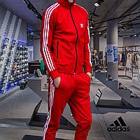 Мужской спортивный костюм Adidas(адидас) красного цвета + подарок