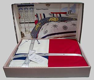 Комплект постельного белья First Choice Ранфорс 200x220 Aqua Passion, фото 2