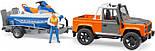 Bruder Игрушка машинка джип Land Rover с прицепом и водным скутером, 02599, фото 3