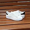 Кросівки в стилі Adidas stan smith еко шкіряні перфорація літні superstar з чорним задником, фото 5
