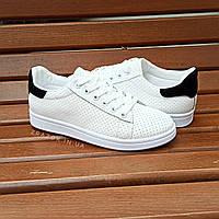 Кроссовки в стиле Adidas stan smith эко кожаные перфорация летние superstar с черным задником