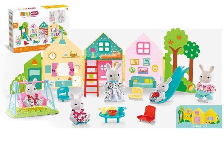 Домик-вилла CJ 888-005 (36/2) с мебелью и животными, 21 эл., в коробке