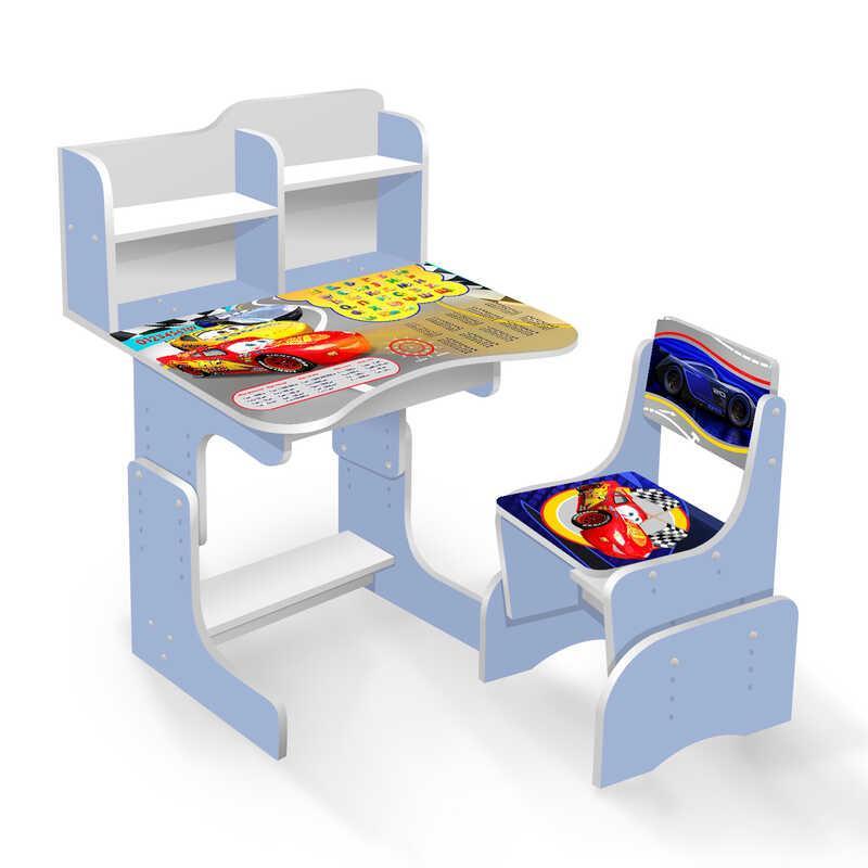 """Гр Парта школьная ЛДСП ПШ 025 """"Тачки"""" (1) цвет голубой (парта+1 стул), 690*450, с пеналом"""