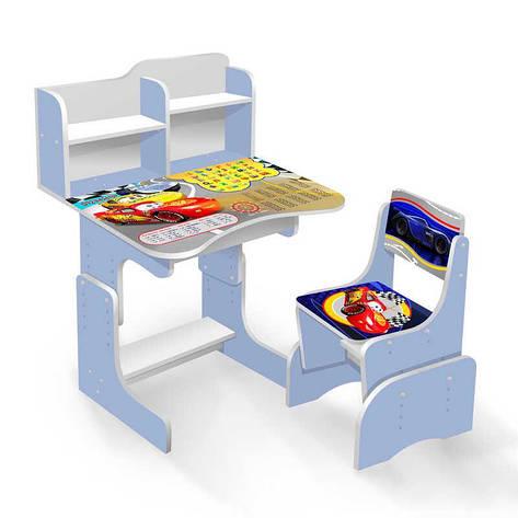 """Гр Парта школьная ЛДСП ПШ 025 """"Тачки"""" (1) цвет голубой (парта+1 стул), 690*450, с пеналом, фото 2"""