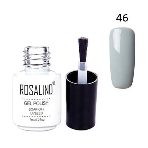 Гель-лак для ногтей маникюра 7мл Rosalind, шеллак, 46 светло серый