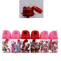 DSCN2235 Детская бутылка для воды Дисней Эльза Лол Единорог Спайдермен Маквин Китти с трубочкой 350 мл