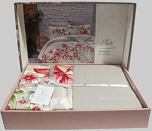 Комплект постельного белья First Choice Ранфорс 200x220 Riella Kirmizi, фото 2
