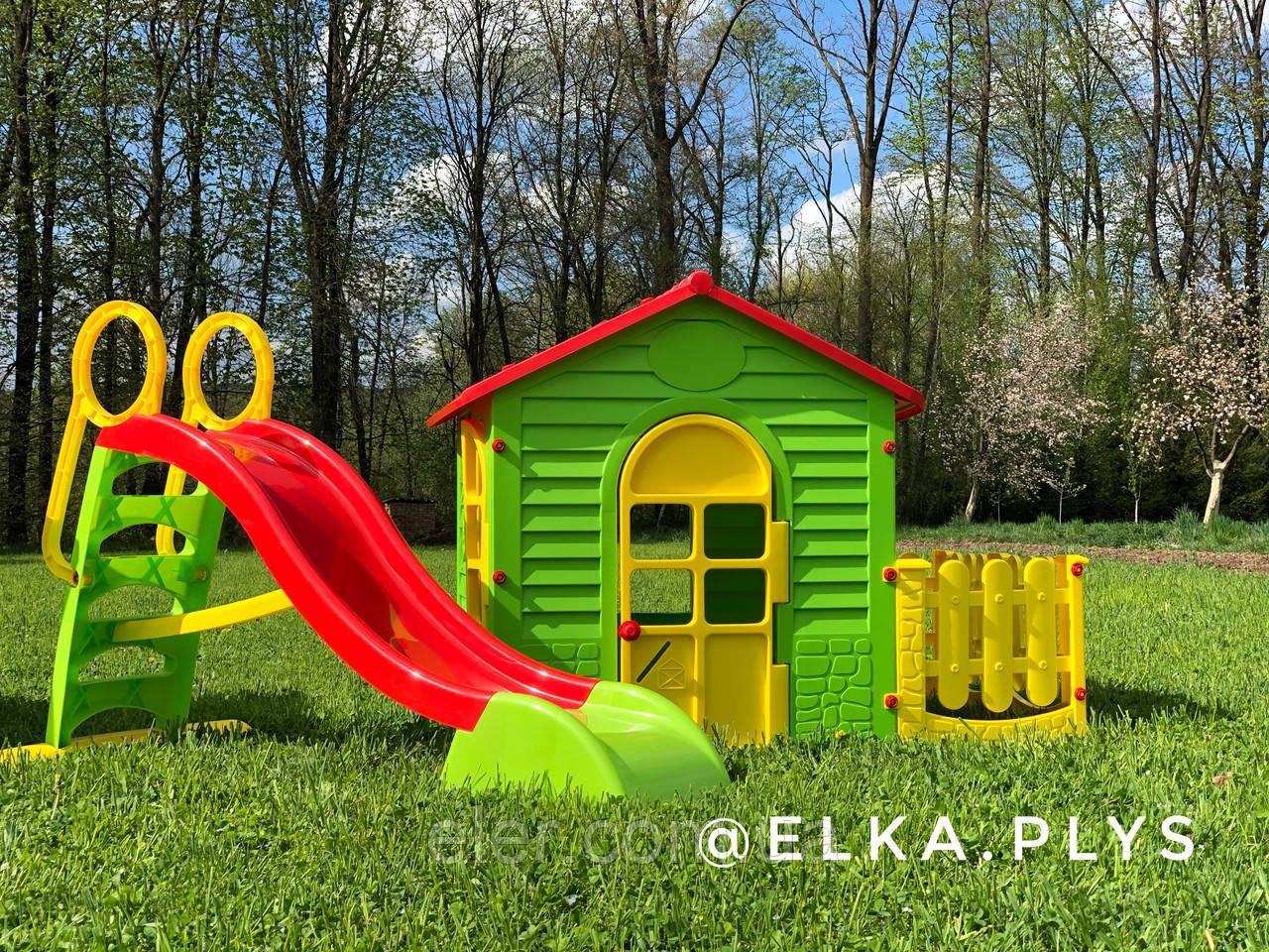 Детский игровой набор Домик з забором + Большая горка 180см
