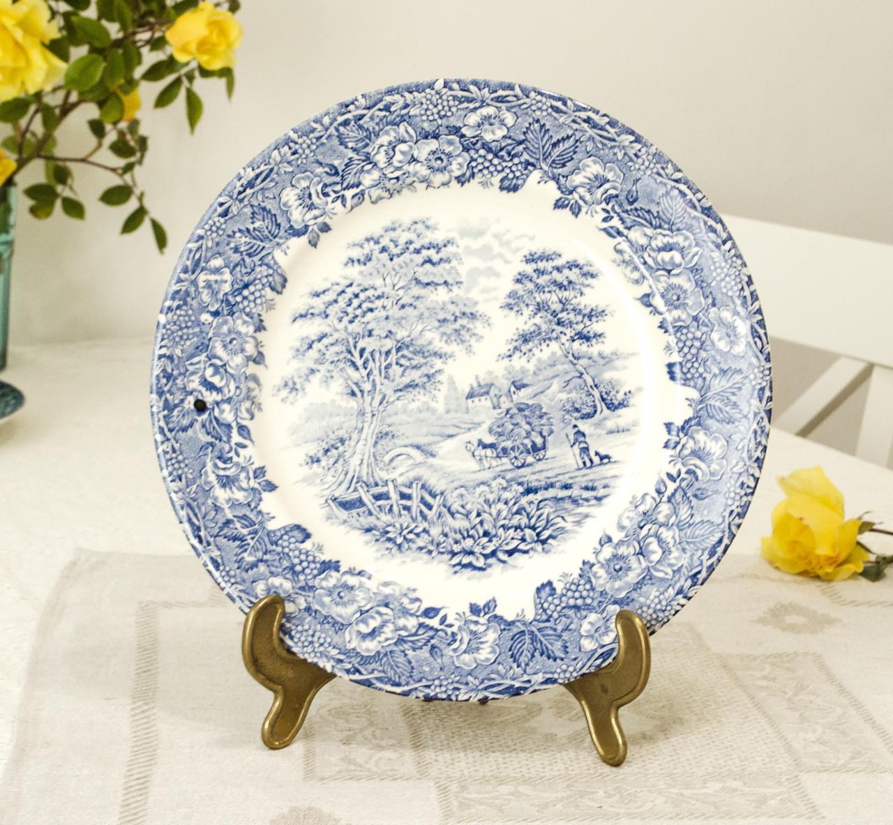 Коллекционная сине-белая обеденная тарелка, Англия, английская керамика, сельский быт