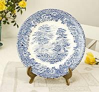 Коллекционная сине-белая обеденная тарелка, Англия, английская керамика, сельский быт, фото 1