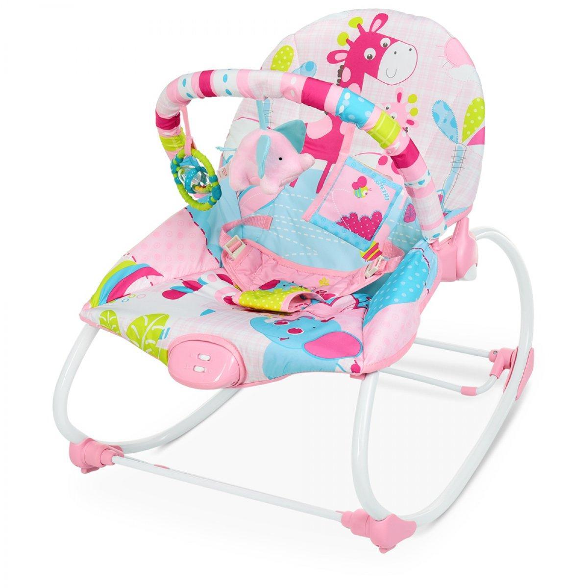 Детский шезлонг-качалка с вибрацией Mastela 6921 Розовый, музыка, дуга, подвески