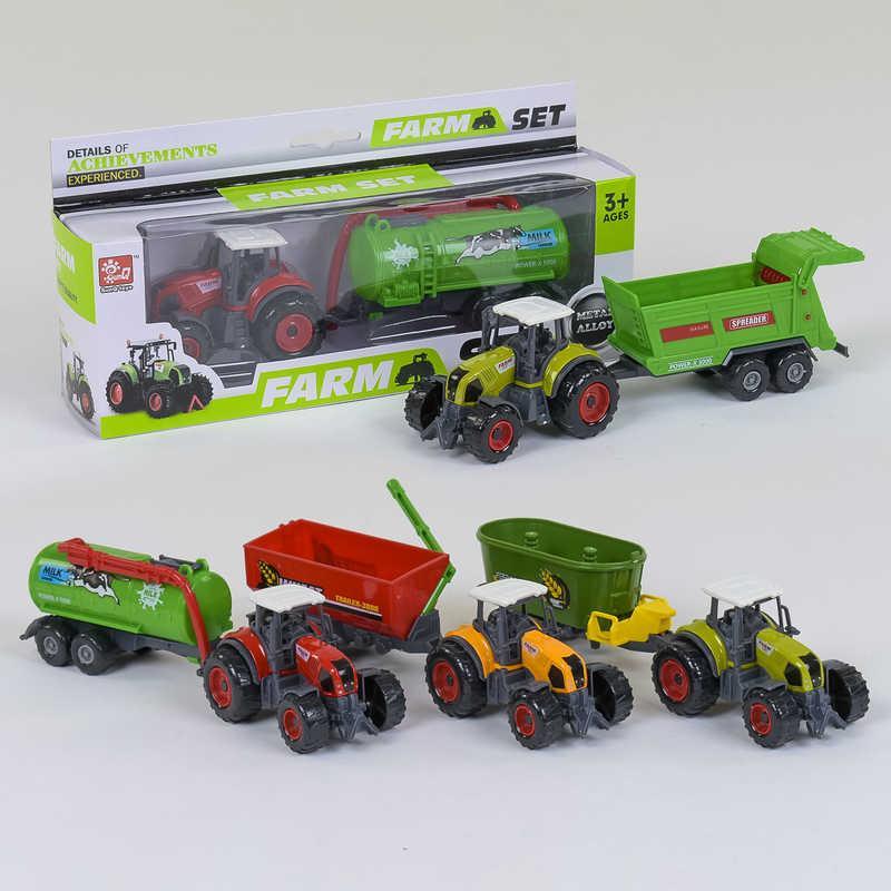 Трактор с прицепом металлопластиковый SQ 90222-2 В (144/2) 4 вида, в коробке