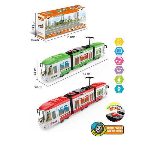 Трамвай 1598 (24) 2 цвета, свет, звук, в коробке, фото 2