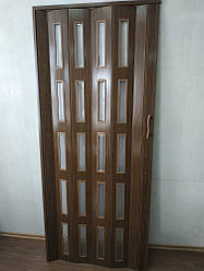 Дверь остекленная 860х2030х6мм  дуб темный 7036 гармошка раздвижная