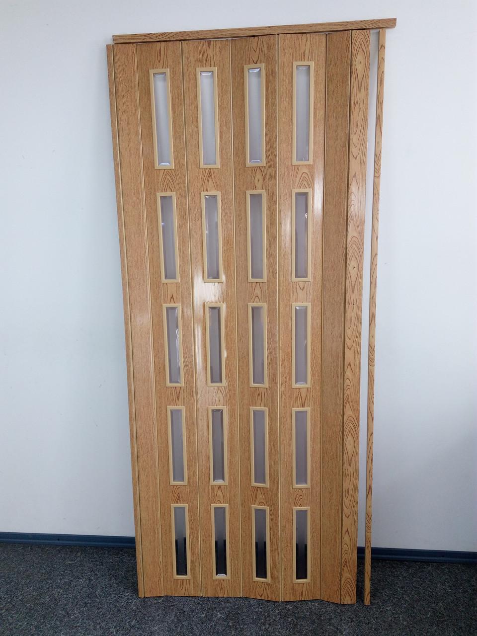 Дверь гармошка межкомнатная остекленная ЭКО, 7104 ольха светлая, 860*2030*6 мм