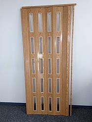 Дверь остекленная 860х2030х6мм  ольха светлая 7104 гармошка раздвижная