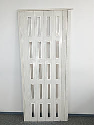 Дверь остекленная 860х2030х6мм  ольха белая 7202 гармошка раздвижная