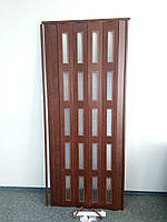 Дверь гармошка межкомнатная остекленная ЭКО, 811 каштан, 860*2030*6 мм