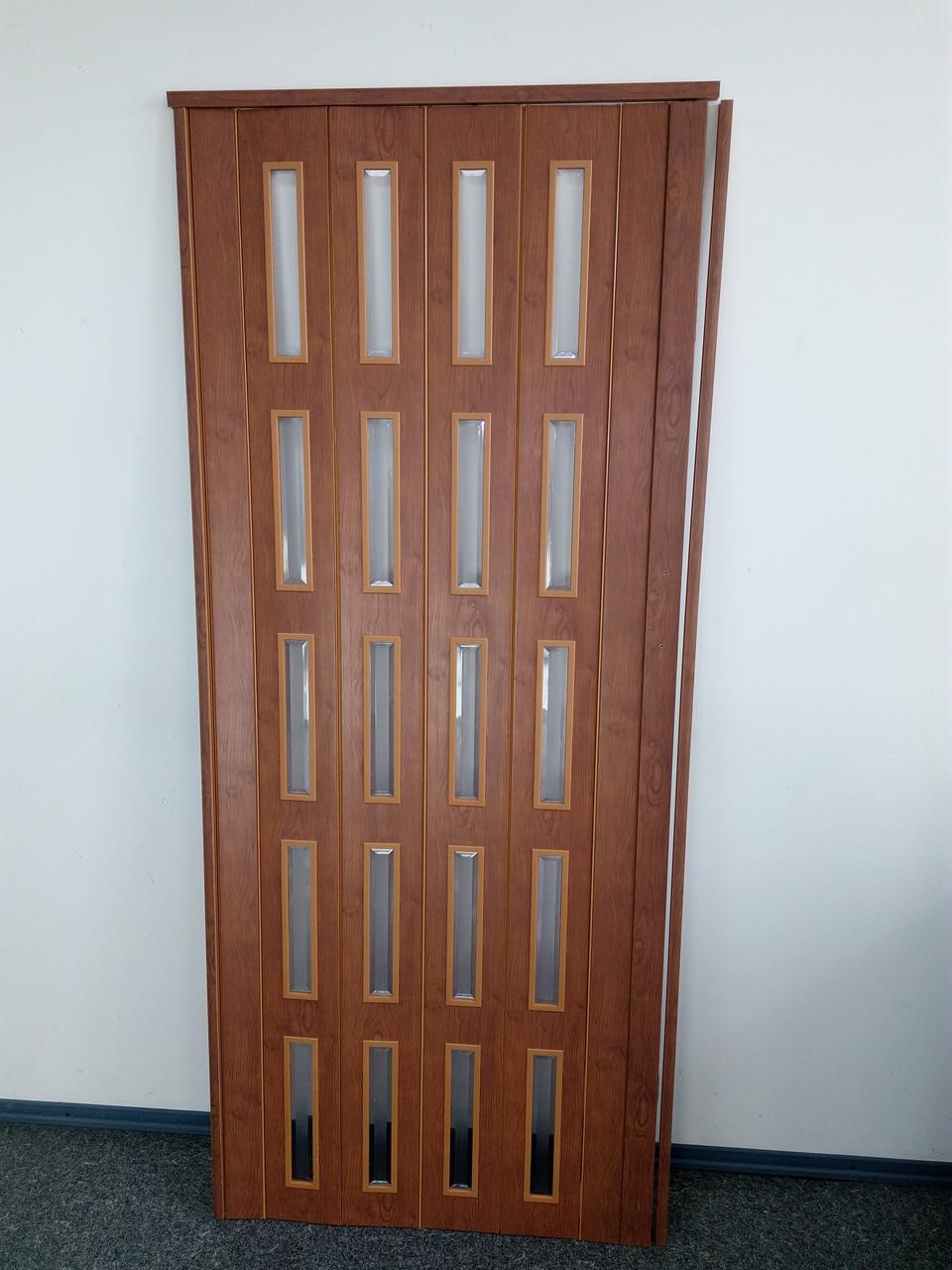 Дверь гармошка межкомнатная остекленная ЭКО, дуб канадский, 860*2030*6 мм
