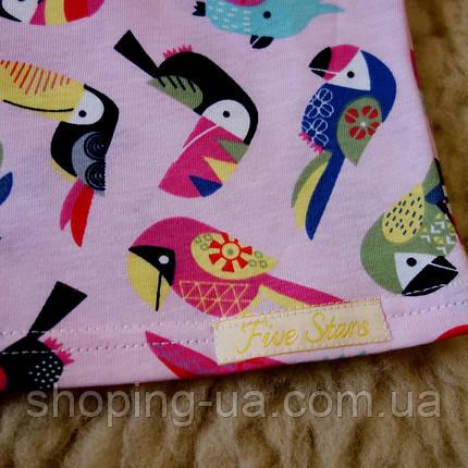 Детская футболка розовая с попугаями Five Stars KD0317-134p, фото 2