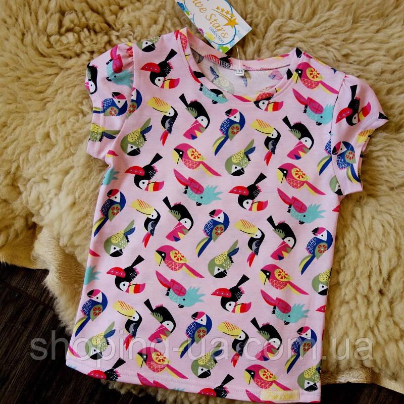 Детская футболка розовая с попугаями Five Stars KD0317-134p