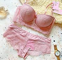 Кружевное нижнее женское белье, бюст пуш-ап Анжелика размер 75В, пудра цвет