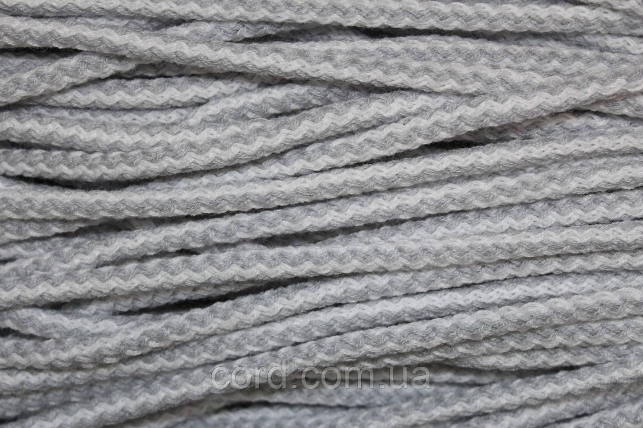 Шнур круглый 6мм акрил 100м светло серый + белый