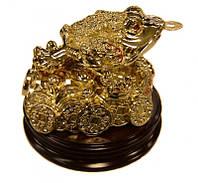 """""""Денежная жаба"""" на деревянной подставке - символ богатства и материального благополучия"""