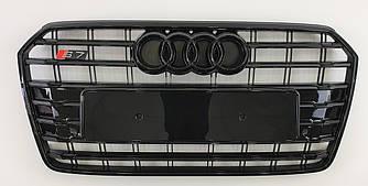 Решетка радиатора Audi A7 (15-18) стиль S7 (черный глянц)