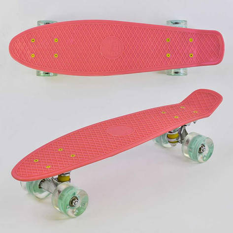 Скейт Пенни борд 0440 (8) Best Board, КОРАЛЛОВЫЙ, СВЕТ, доска=55см, колёса PU  d=6см, фото 2
