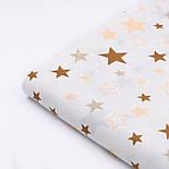 """Лоскут ткани №1037а """"Звёздный карнавал"""" с бежевыми и коричневыми звёздами на белом фоне, размер 23*80 см, фото 3"""