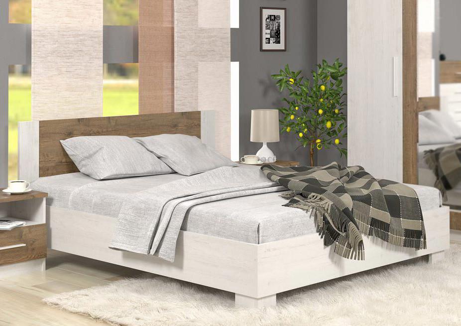 Кровать 180 Маркос + ламели Мебель Сервис Андерсон пайн + Дуб април