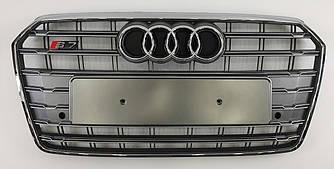 Решетка радиатора Audi A7 рестайл (15-18) стиль S7 (серебро)