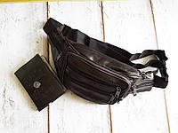 Барсетка натуральная кожа сумка на пояс поясная бананка через плечо коричневая, фото 1