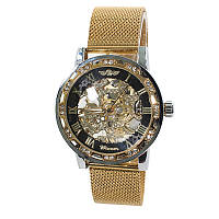 Наручные часы мужские Winner Diamonds mesh W0905 Gold + Black механические скелетон металлические