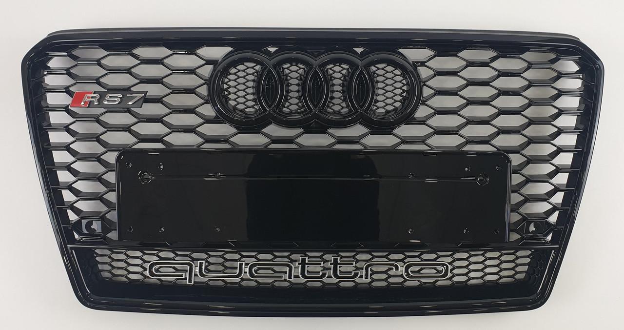 Решетка радиатора Audi A7 (10-15) стиль RS7 (черная + quattro)