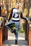 Трикотажные женские лосины с принтом, фото 1